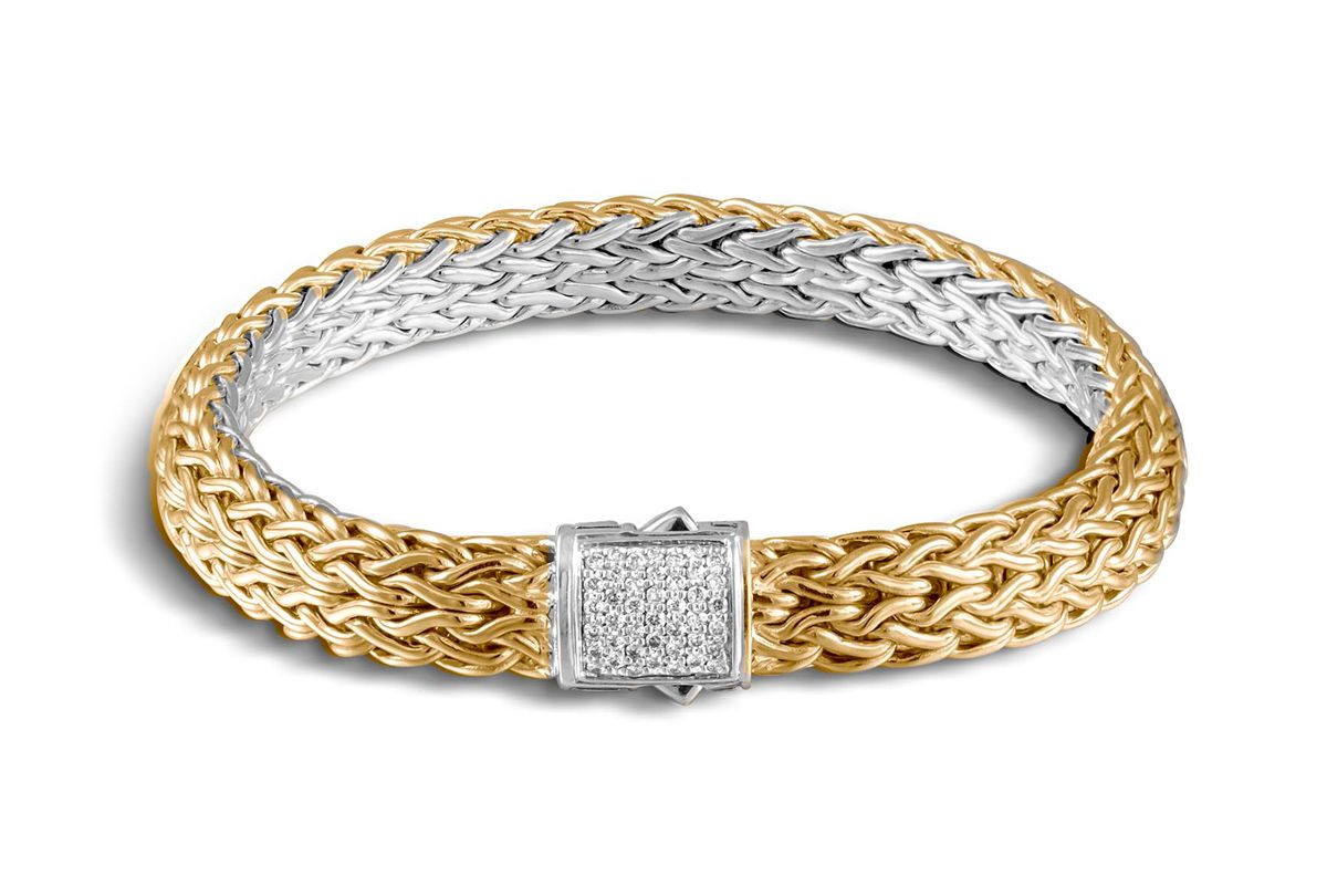 Classic Chain Reversible Bracelet with Diamonds