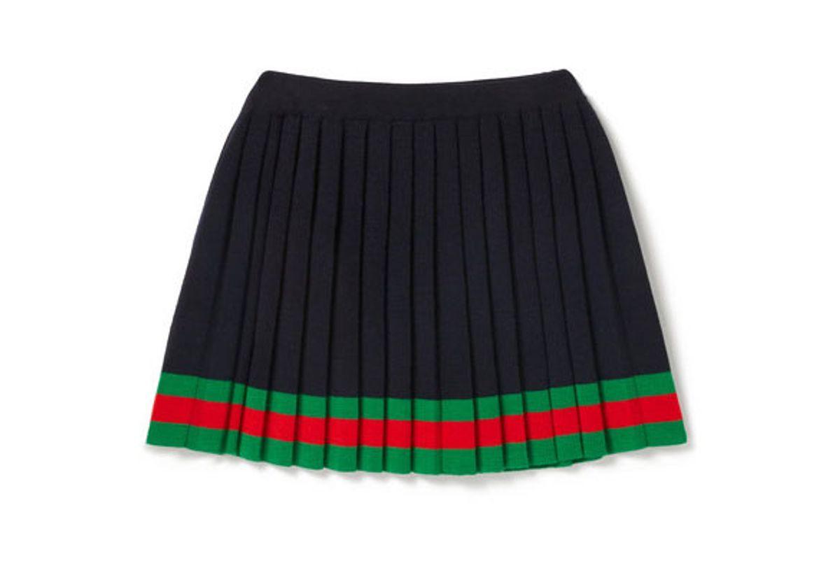 gucci kids striped pleated wool skirt
