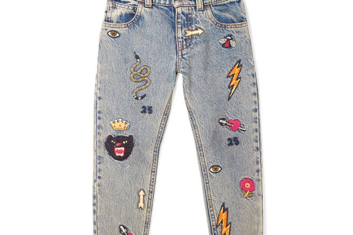 gucci kids embroidered denim jeans