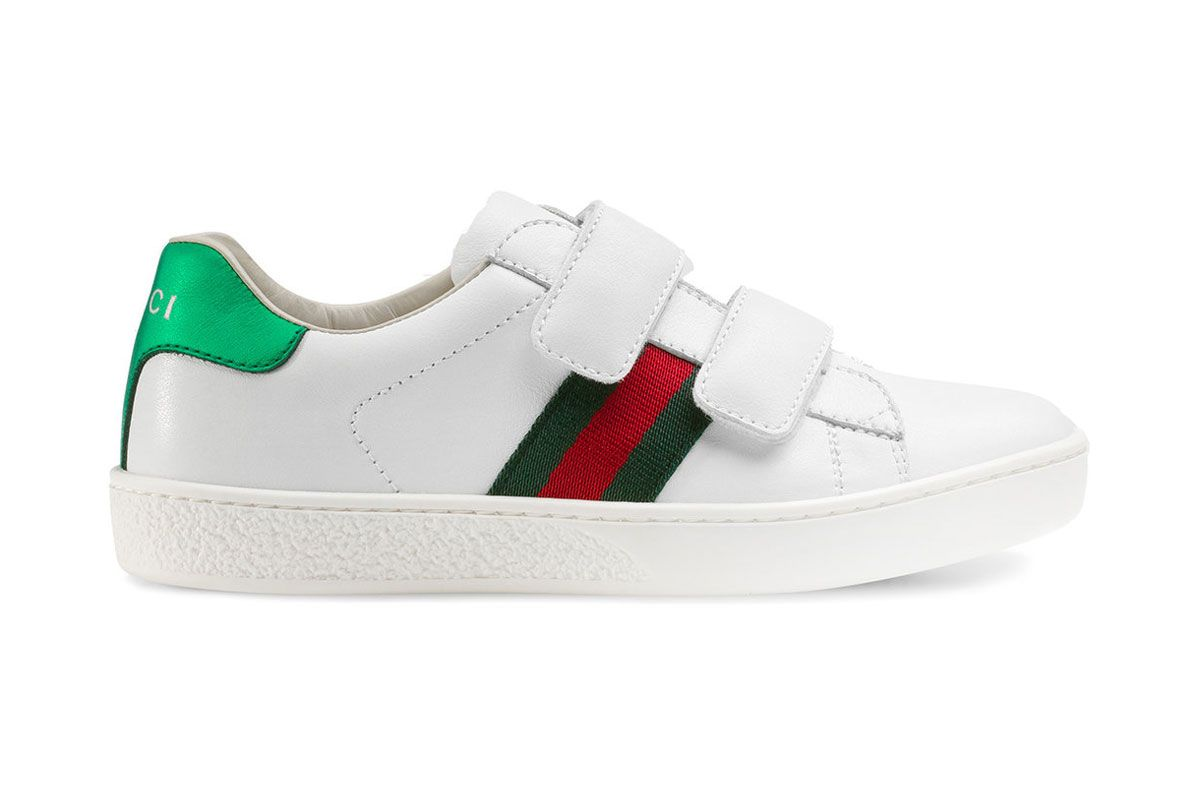 gucci kids ace logo print leather sneakers