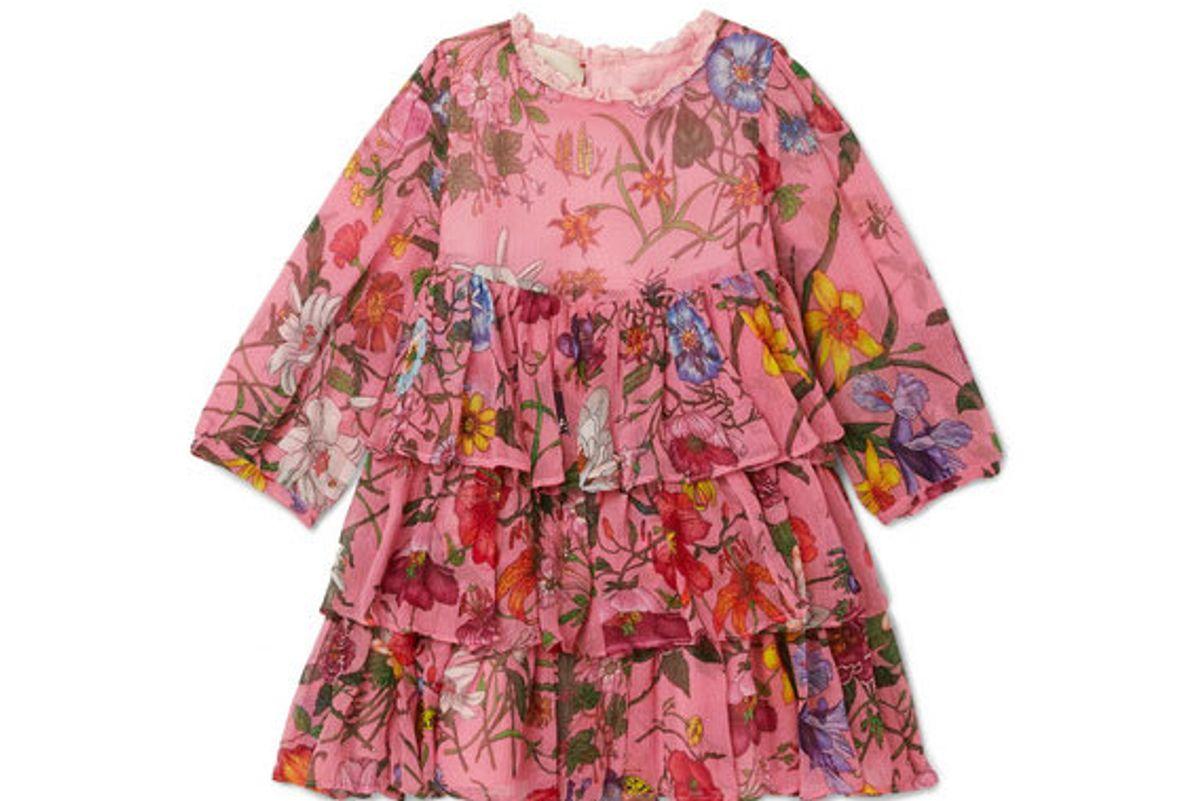 gucci kids tiered floral print silk crepon dress