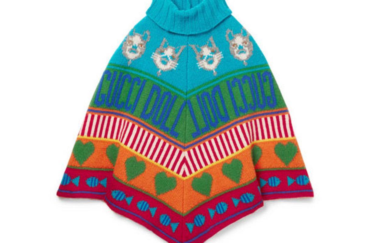 gucci kids wool jacquard poncho