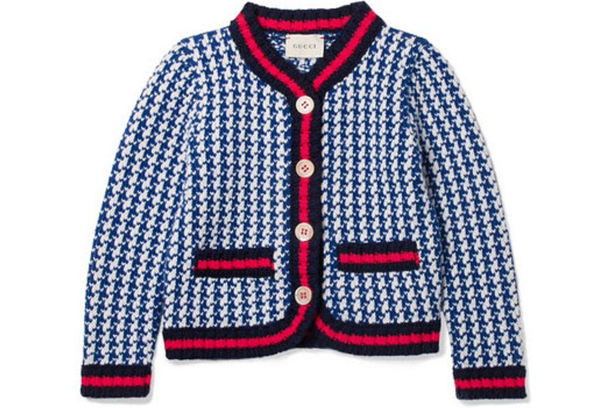 gucci kids appliqued houndstooth intarsia wool jacket
