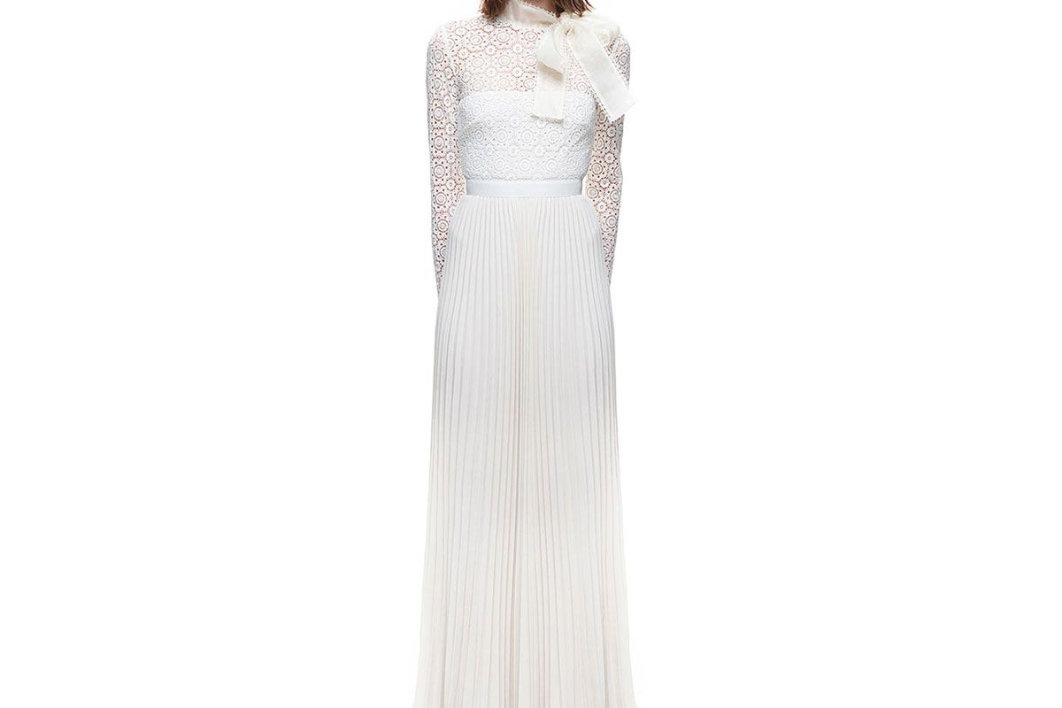 Long Sleeve Gown with Pleated Skirt