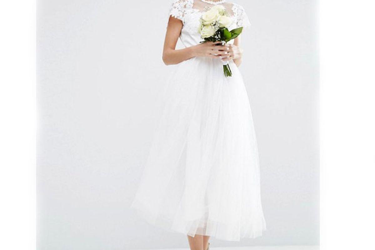 Lace Applique Mesh Midi Prom Dress