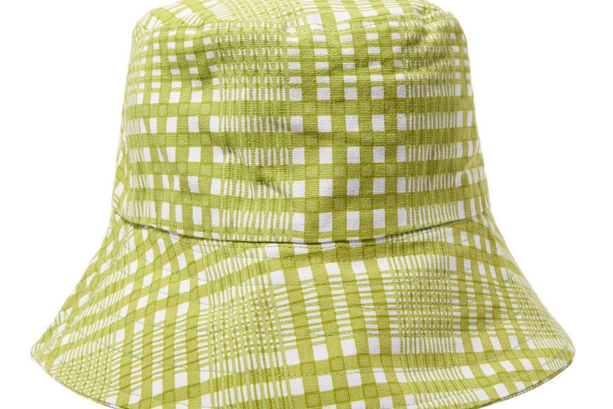 faithfull the brand checked cotton canvas bucket hat