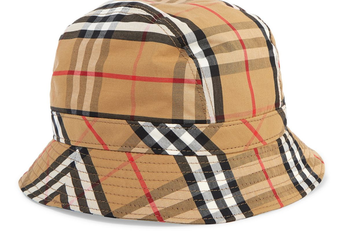 burberry checked cotton canvas bucket hat
