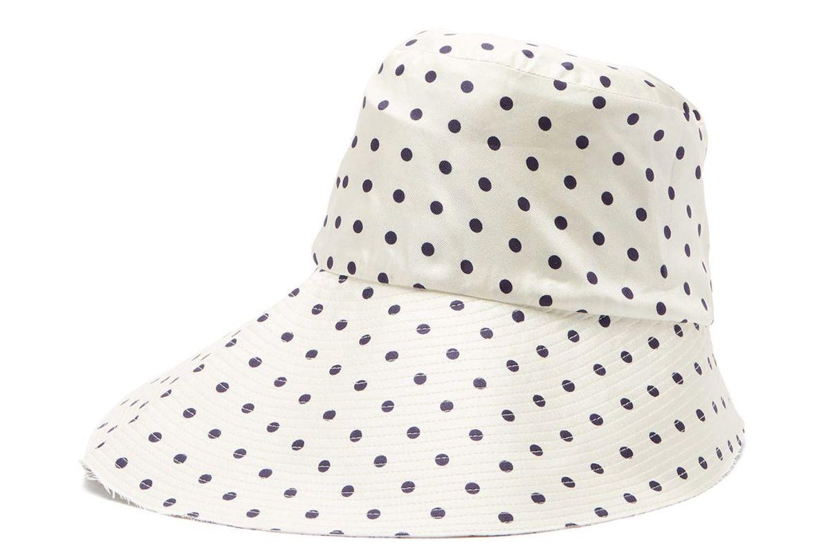 la prestic ouiston polka dot silk twill bucket hat