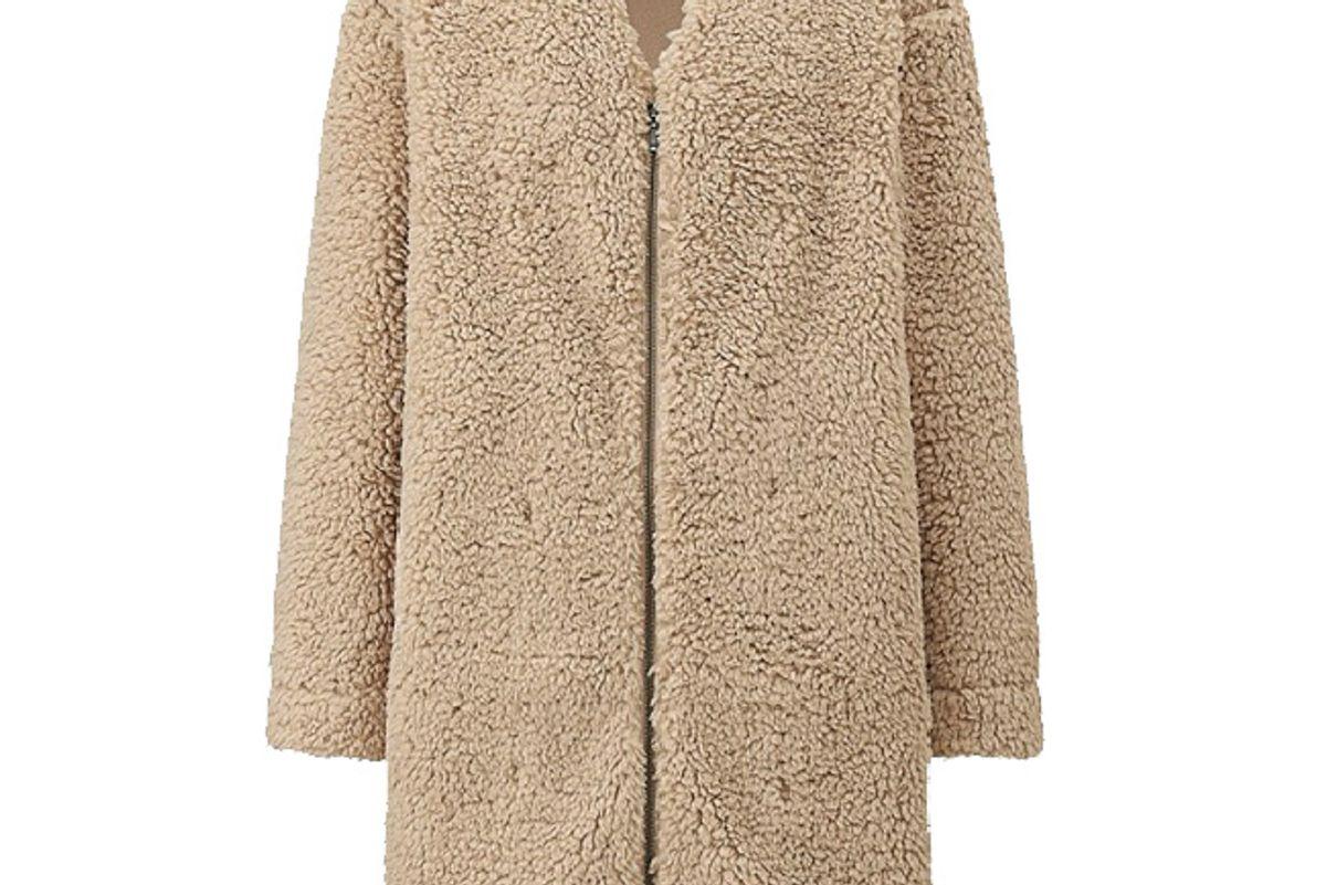 Women Fluffy Fleece Long-Sleeve Coat