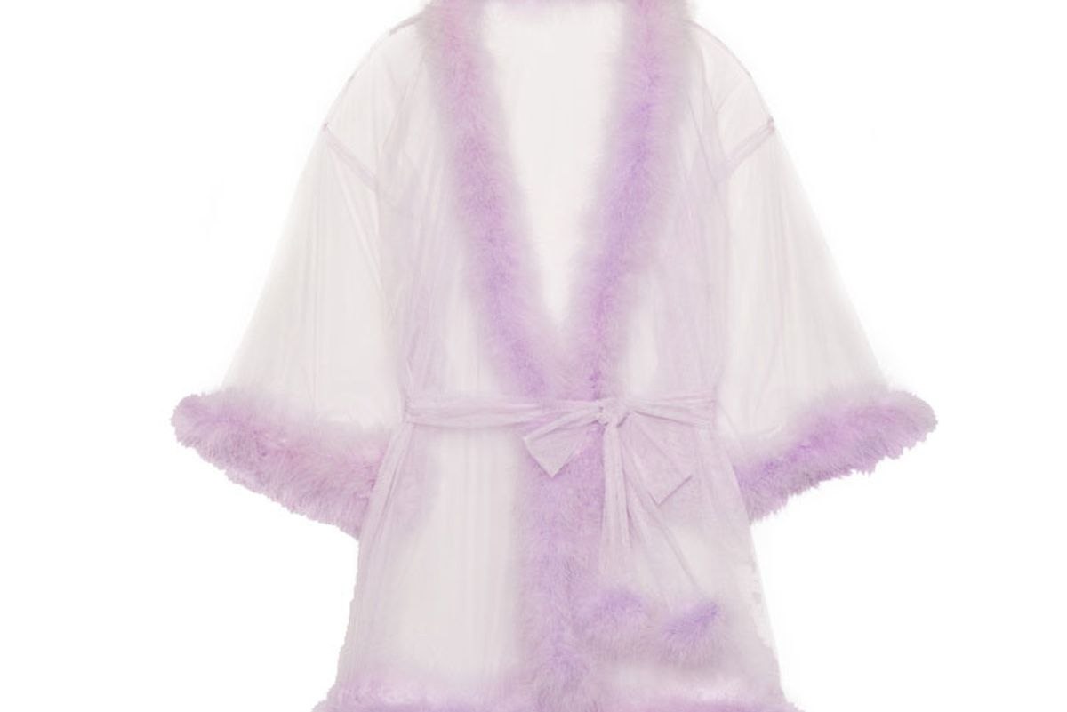 savage x fenty sheer marabou short robe