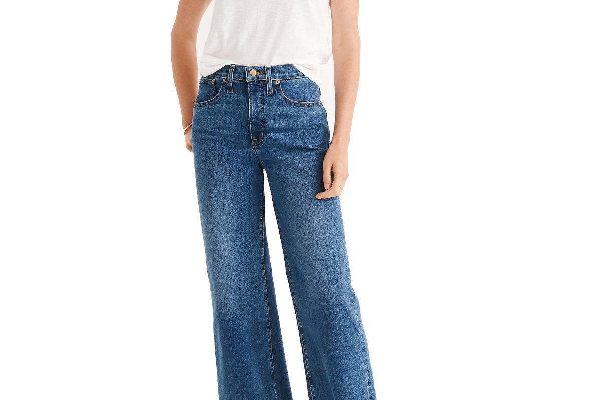 madewell petite slim wide leg jeans in crownridge wash raw hem edition