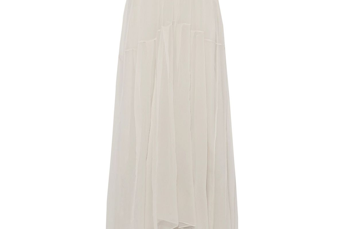 Pleated silk-organza maxi skirt