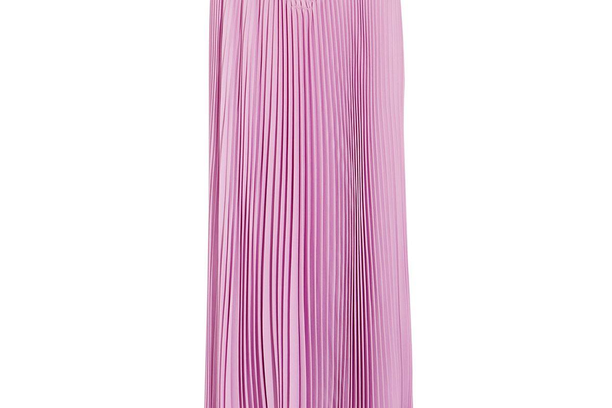 Pleated silk-crepe midi skirt