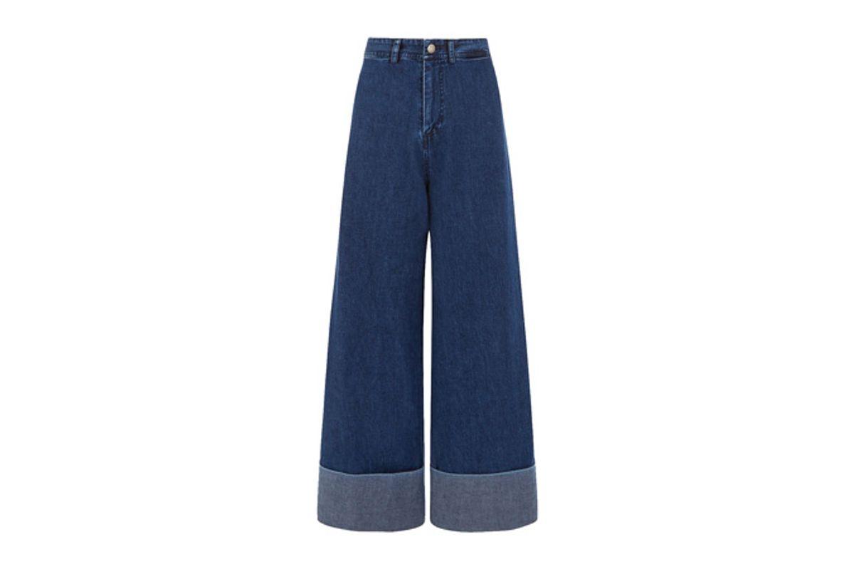 Dark Blue Denim Cuffed Jeans