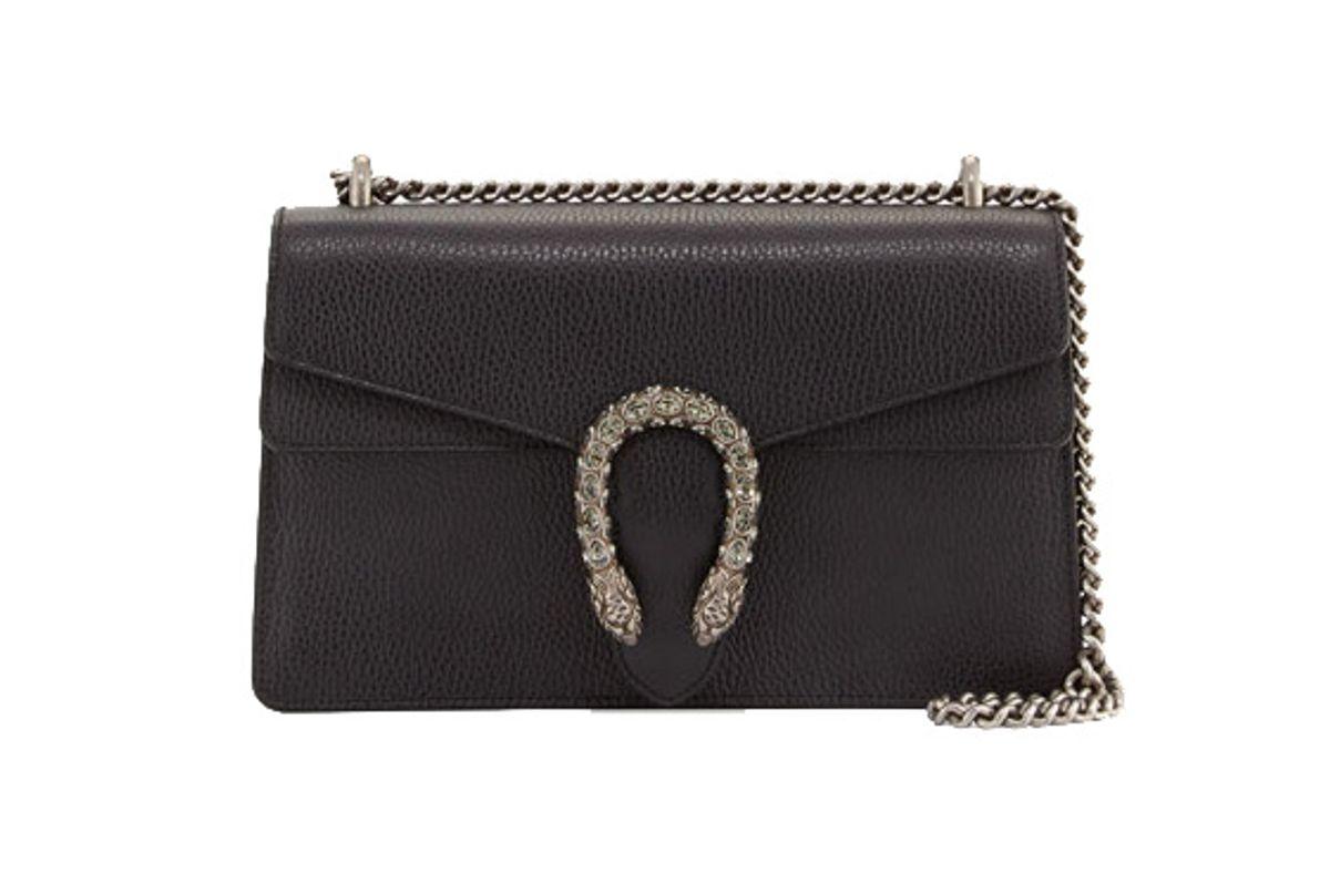 Pebbled Leather Shoulder Bag, Black