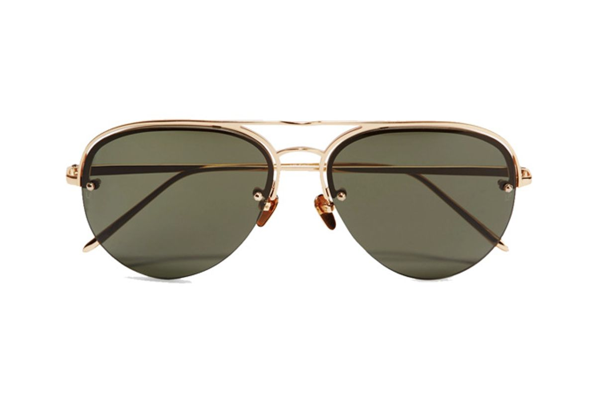 Aviator-Style Gold-Plated Sunglasses