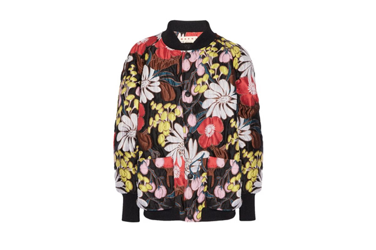 Oversized Floral-Print Matelassé Bomber Jacket