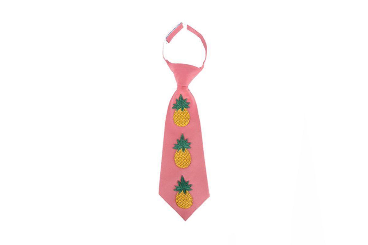 Embroidered Pineapple Silk-Blend Tie
