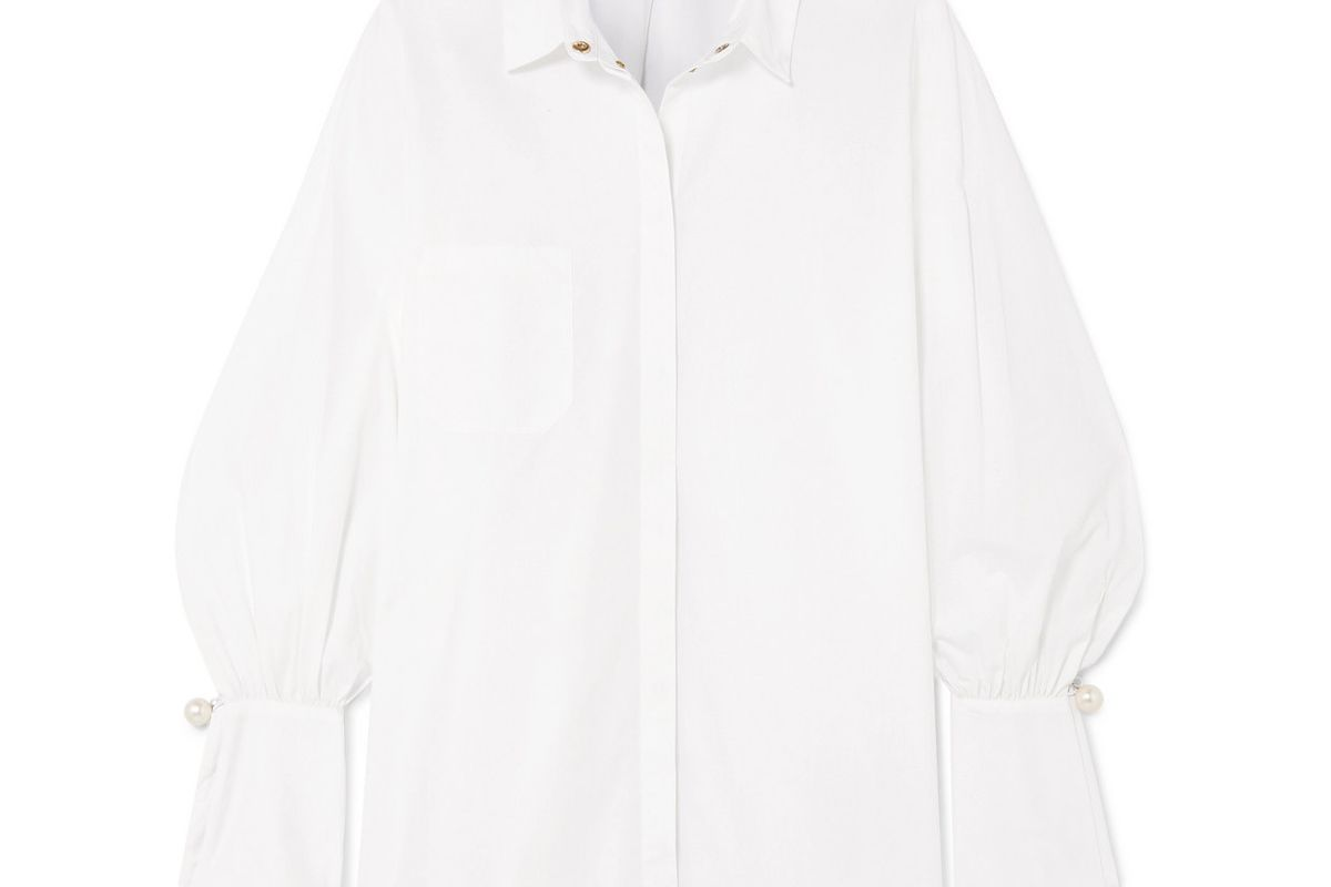 mother of pearl net sustain miles faux pearl embellished organic cotton shirt