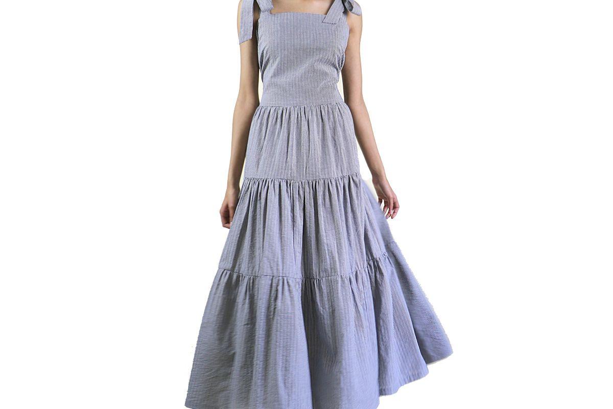 arkins checkered tier maxi dress