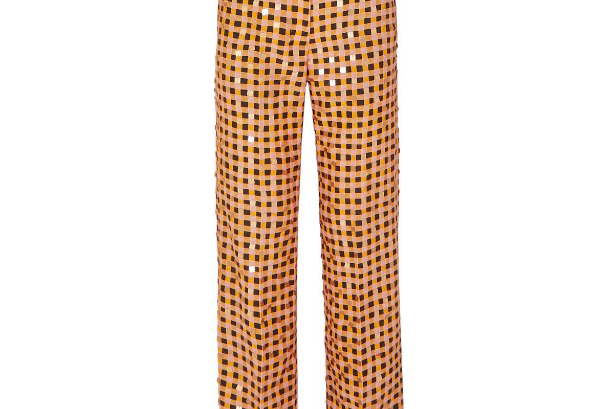 stine goya net sustain marcel sequin embellished gingham organic hemp and silk blend straight leg pants
