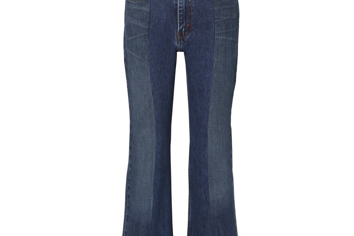 elv denim net sustain the twin two tone distressed high rise flared jeans
