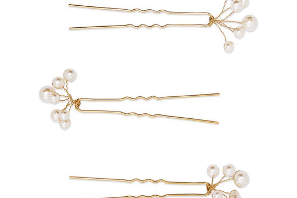 jennifer behr primavera set of three gold tone swarovski pearl hair pins