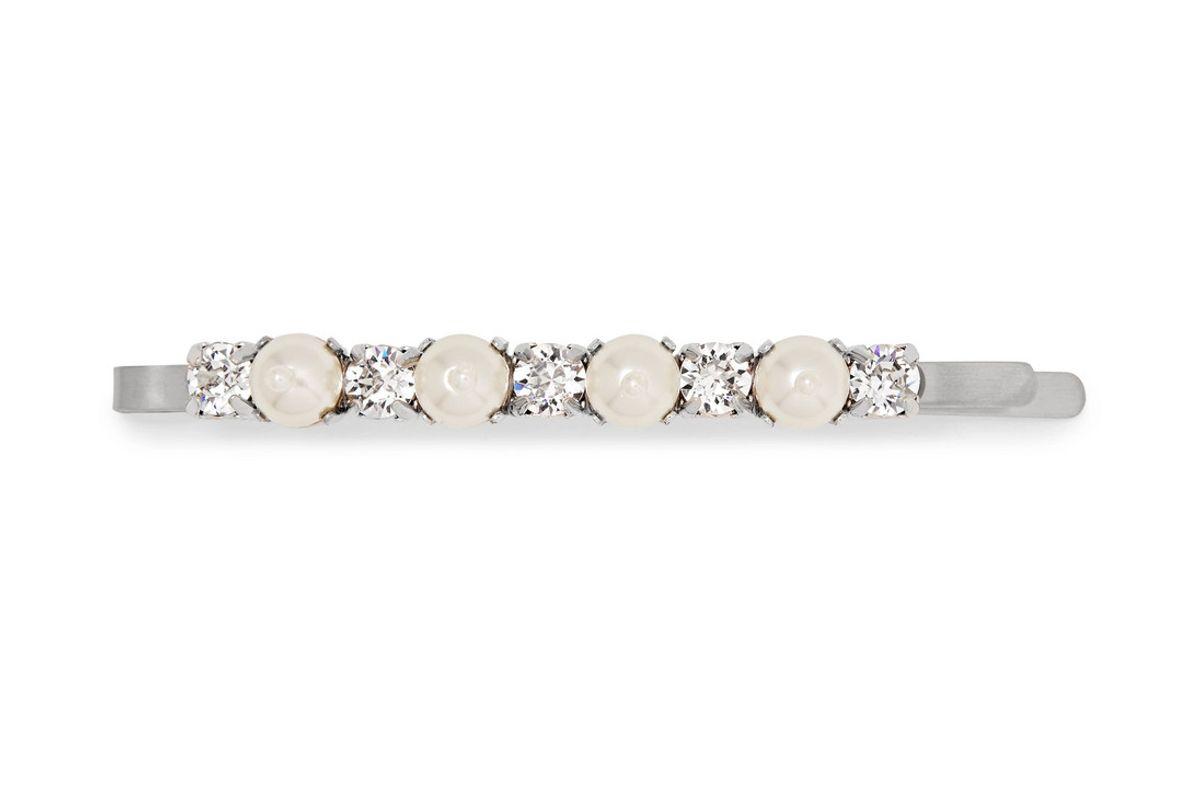 simone rocha silver tone faux pearl and crystal hair slide