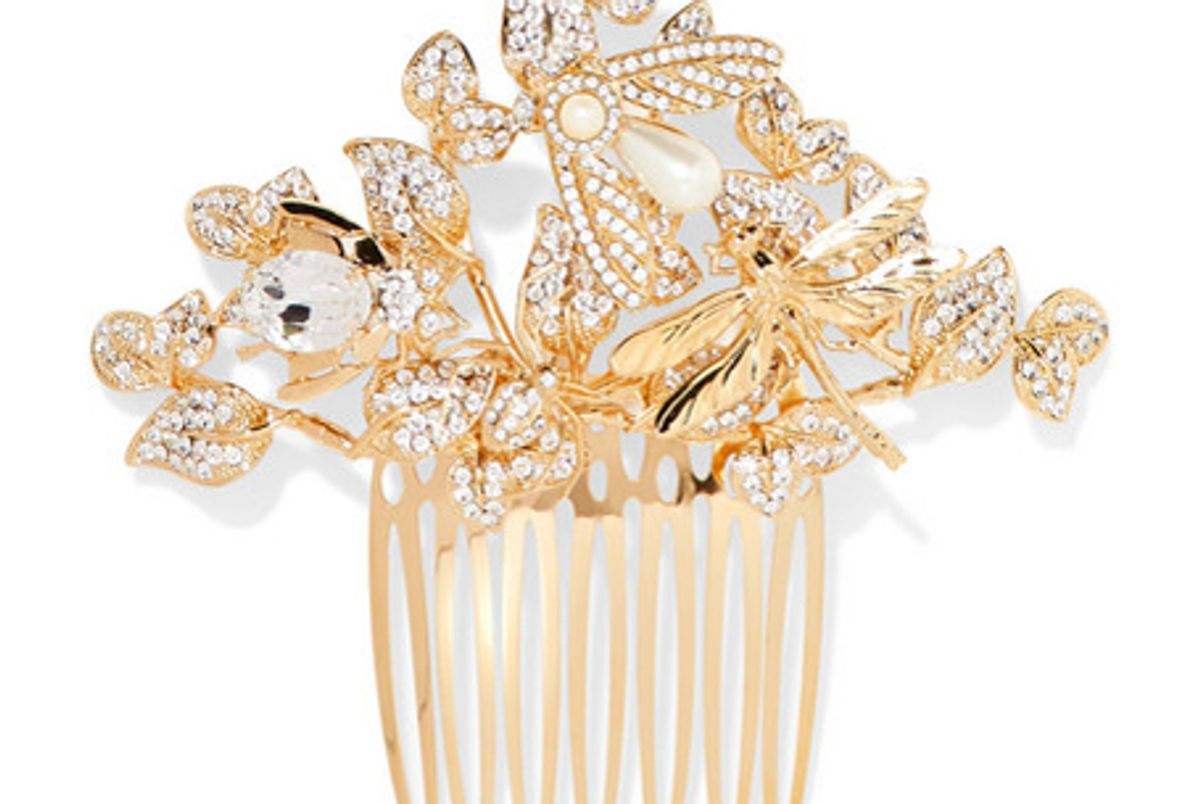dolce gabbana gold tone crystal and faux pearl hair slide