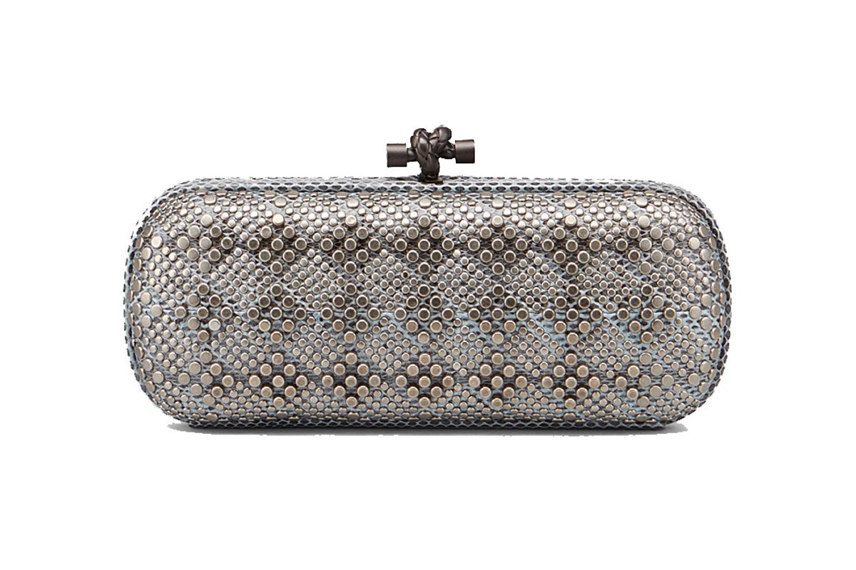 Stretch Knot Clutch in Air Force Blue Ayers, Metal Stud Details