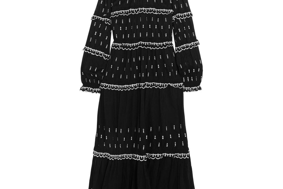 Lyukio Ruffled Embroidered Cotton Maxi Dress