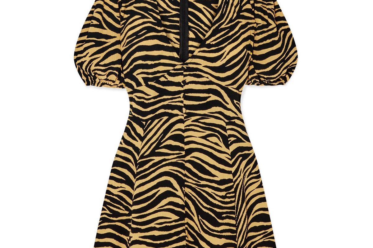 faithfull the brand ilia zebra print crepe mini dress