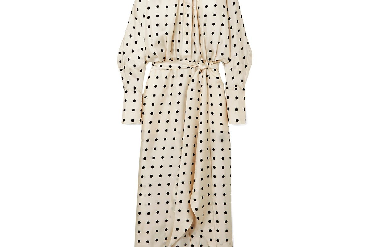 peter pertov dublin belted asymmetric polka dot silk twill dress