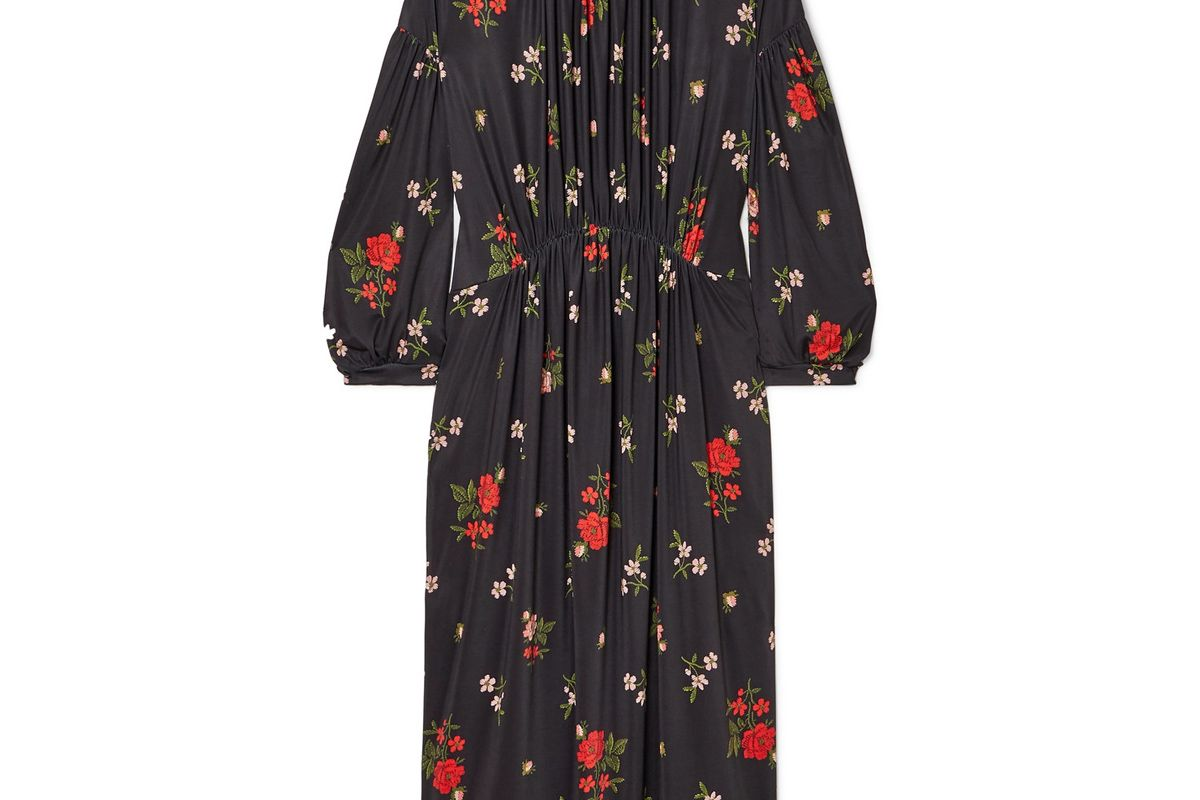 simone rocha gathered floral print satin jersey midi dress
