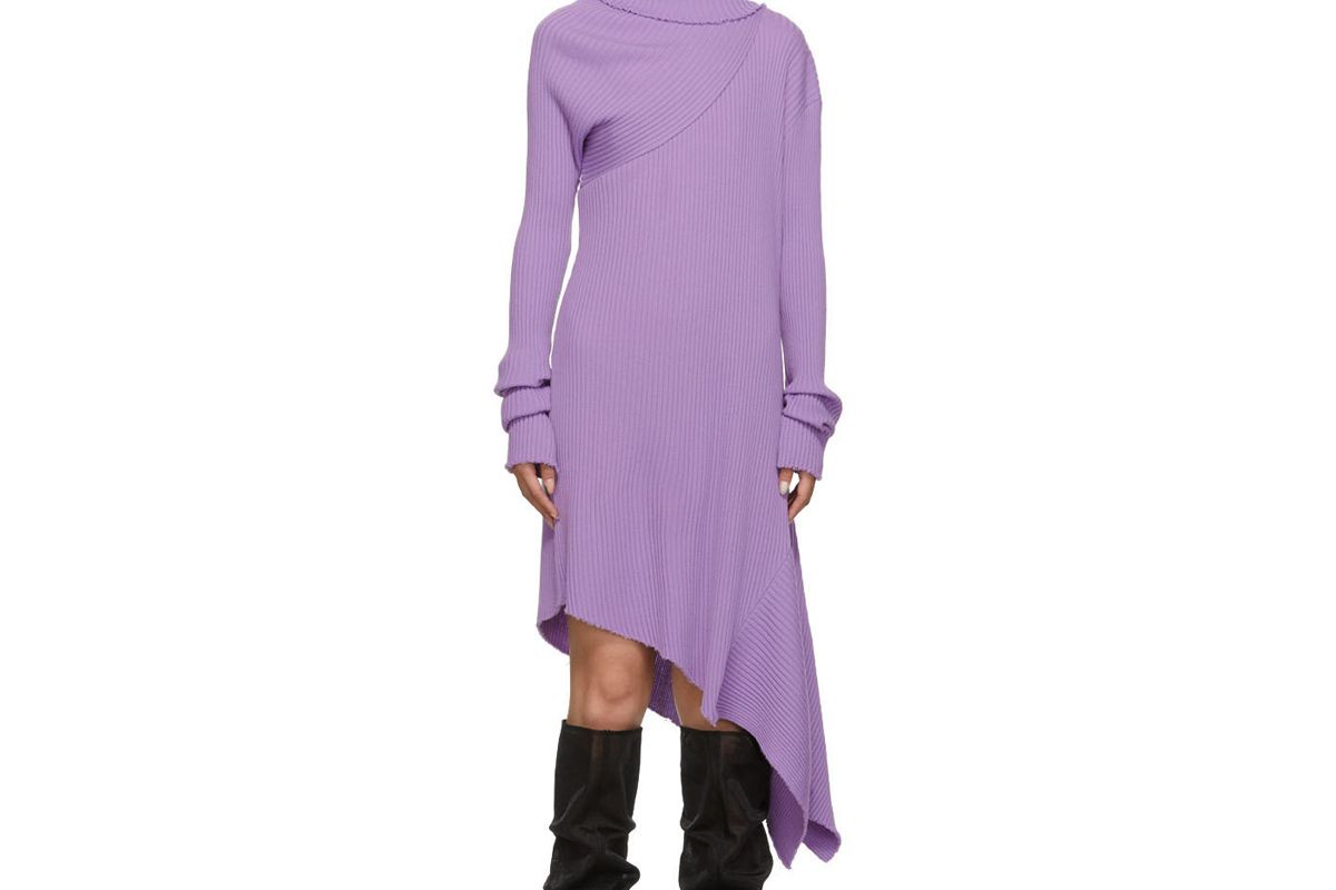 marques almeida ssense exclusive purple draped neck dress