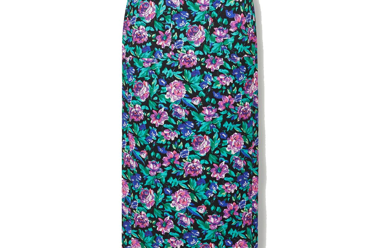 christopher john rogers floral print cotton skirt