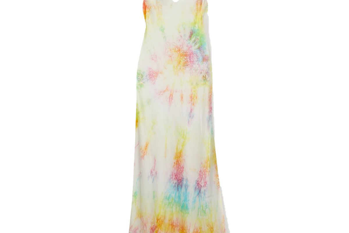 dannijo tie dyed silk satin midi dress