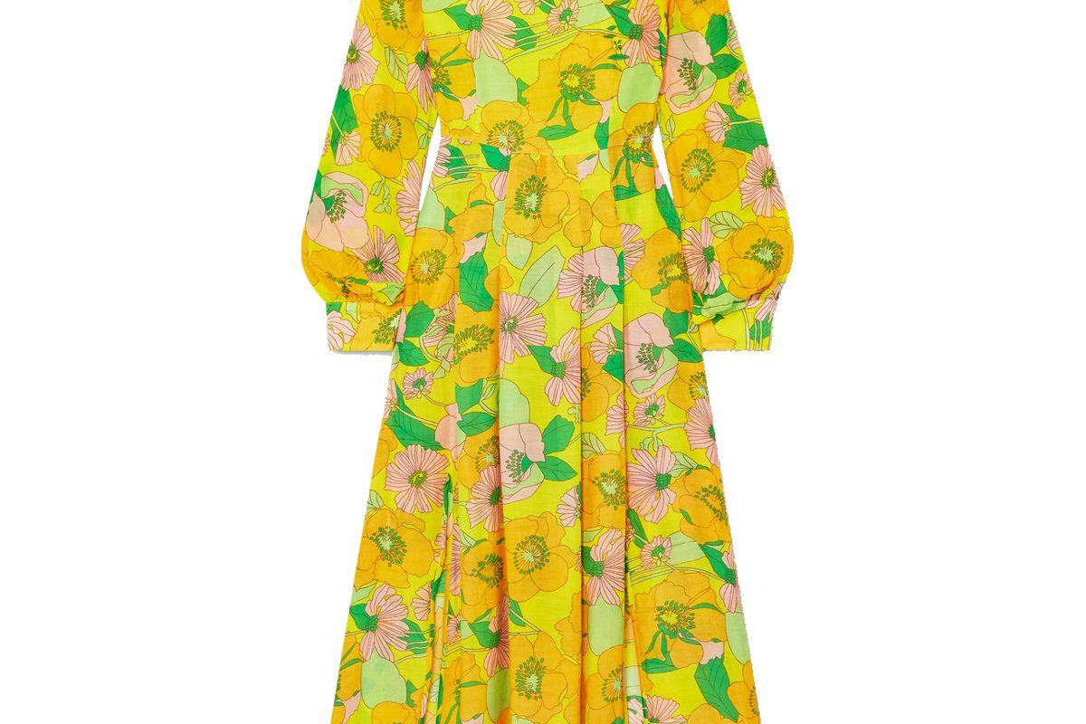 rixo emma pleated floral print modal midi dress