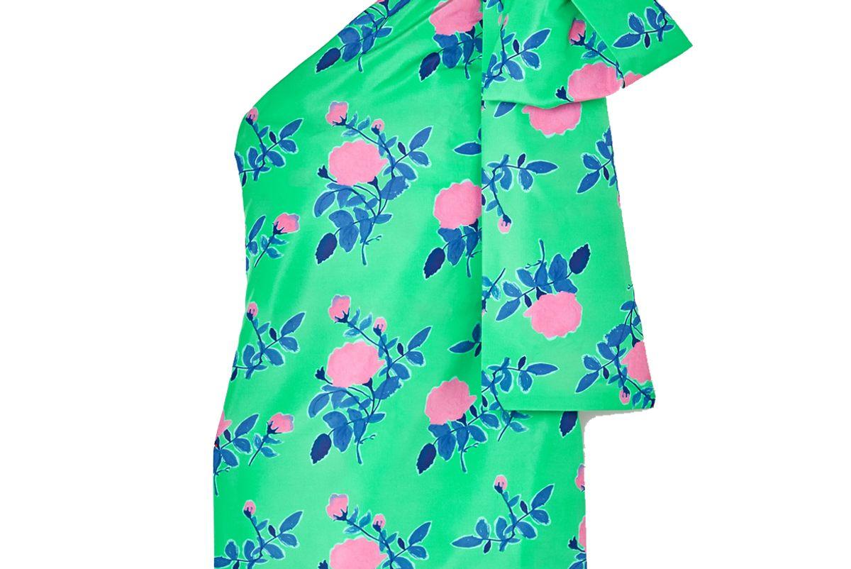 brenadette josselin one shoulder draped floral print taffeta mini