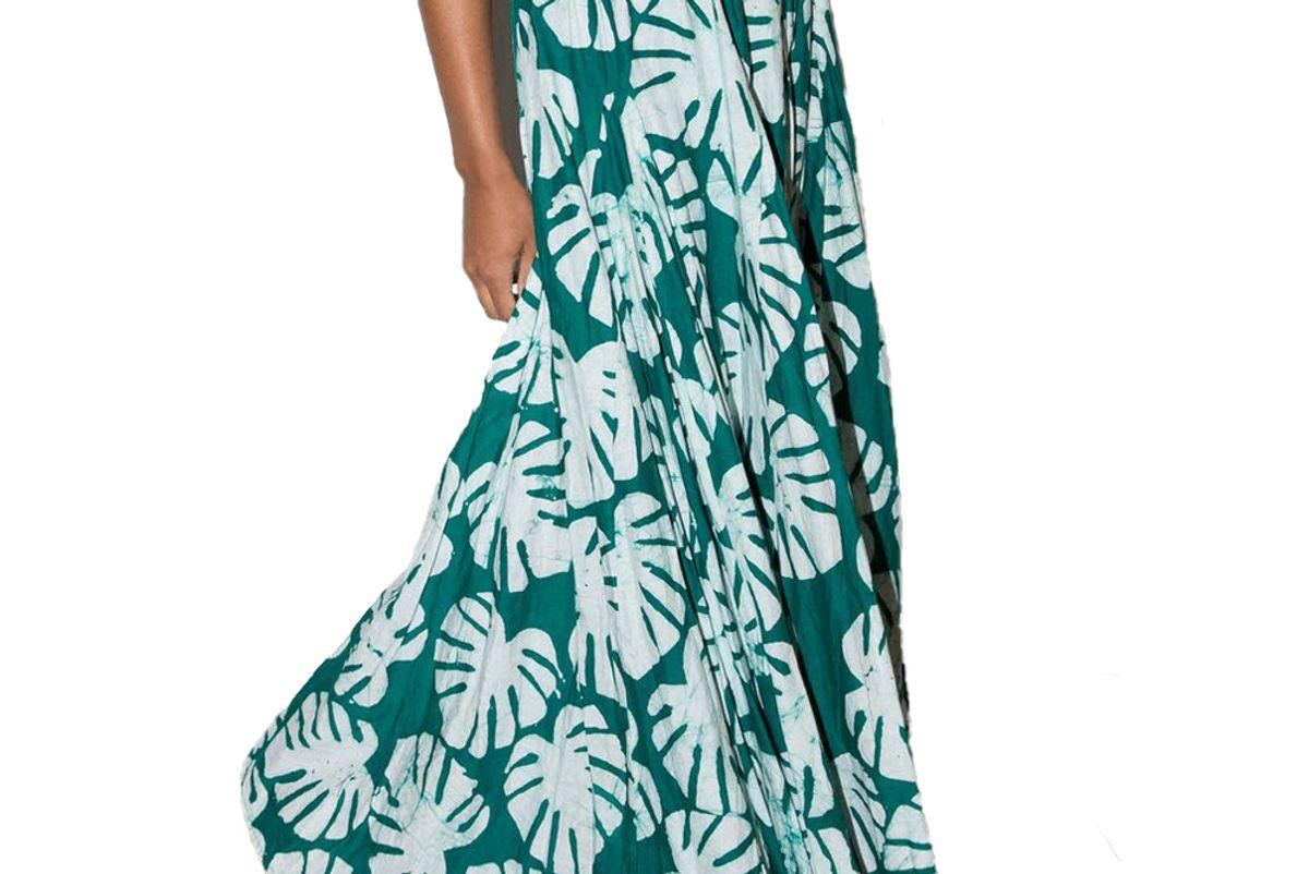 studio 189 green leaf print hand batik alicia skirt