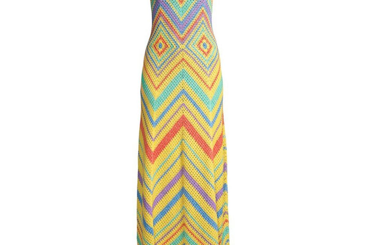 victor glemaud rainbow crochet maxi dress