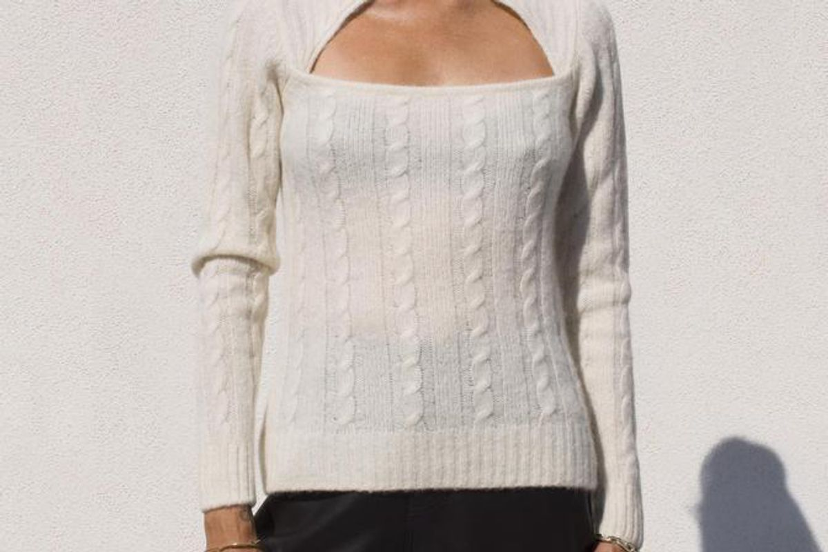 ganni cutout cable knit sweater