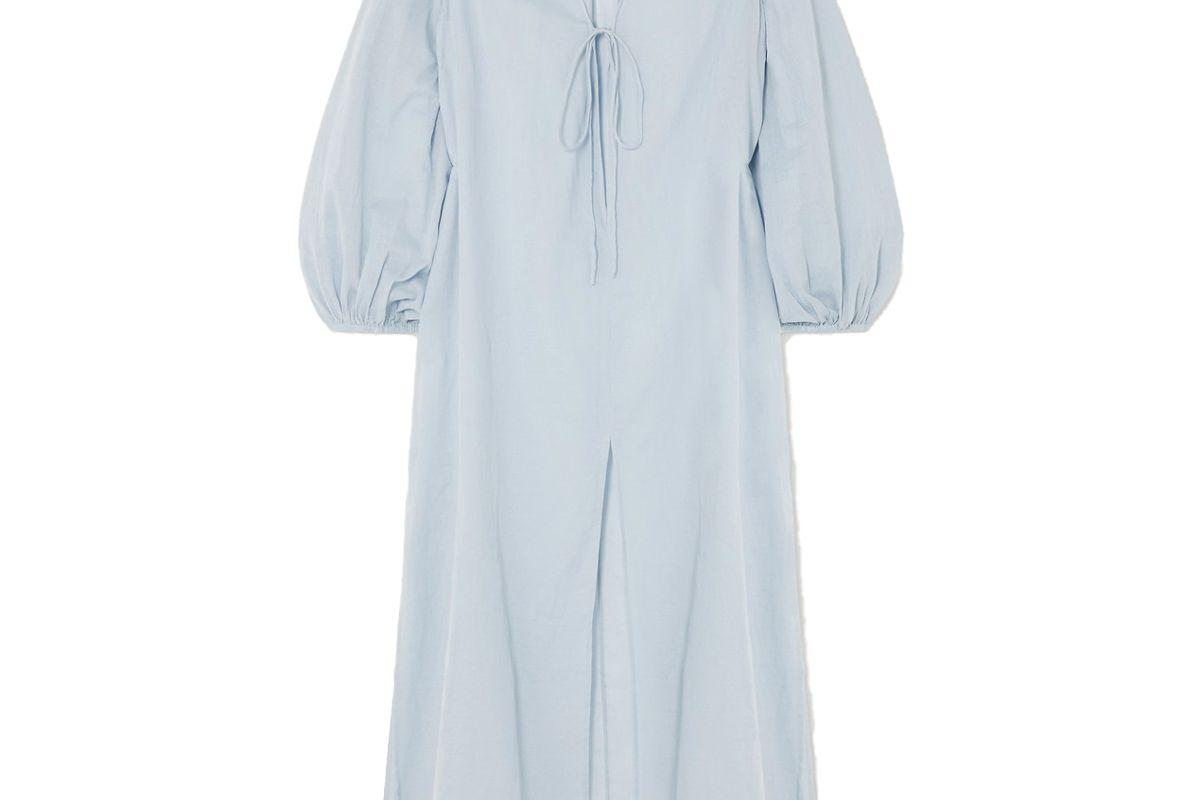 cloe cassandro net sustain lea organic cotton gauze midi dress
