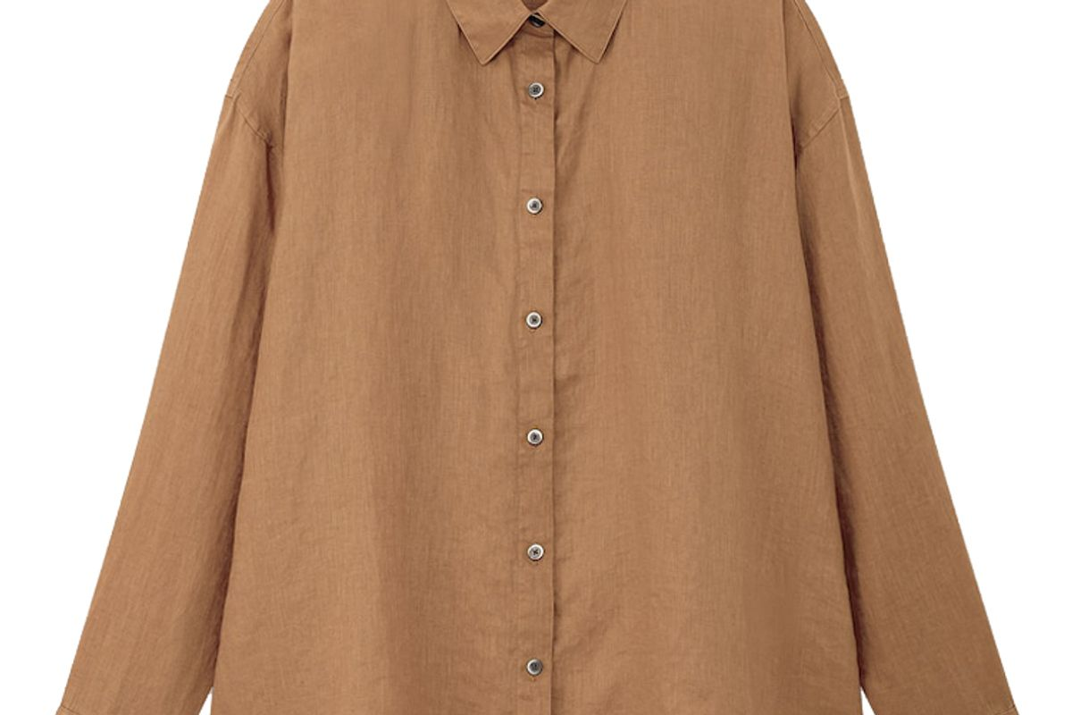 uniqlo women premium linen long sleeve shirt