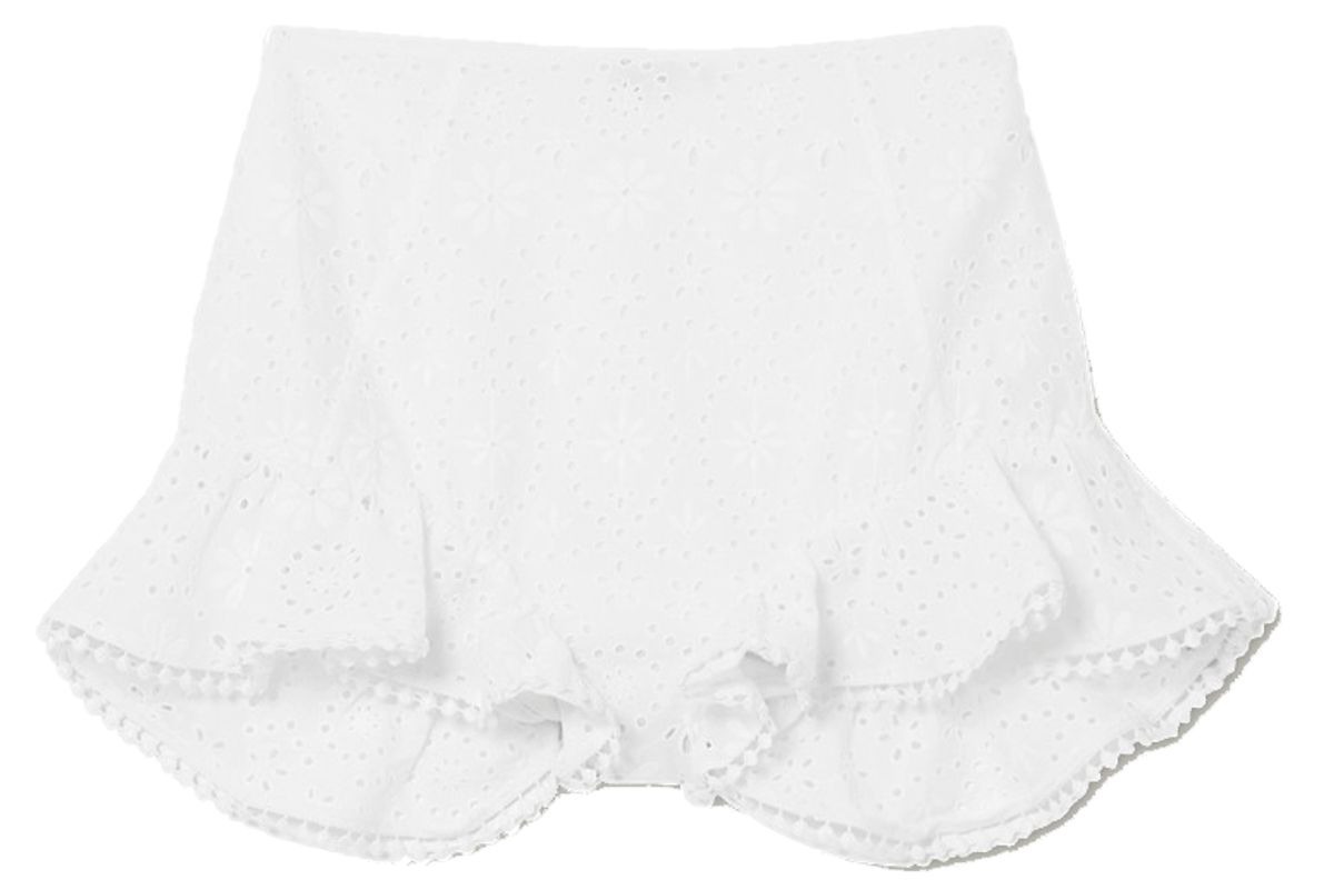 charo ruiz saza crocheted lace trimmed broderie anglaise cotton blend shorts