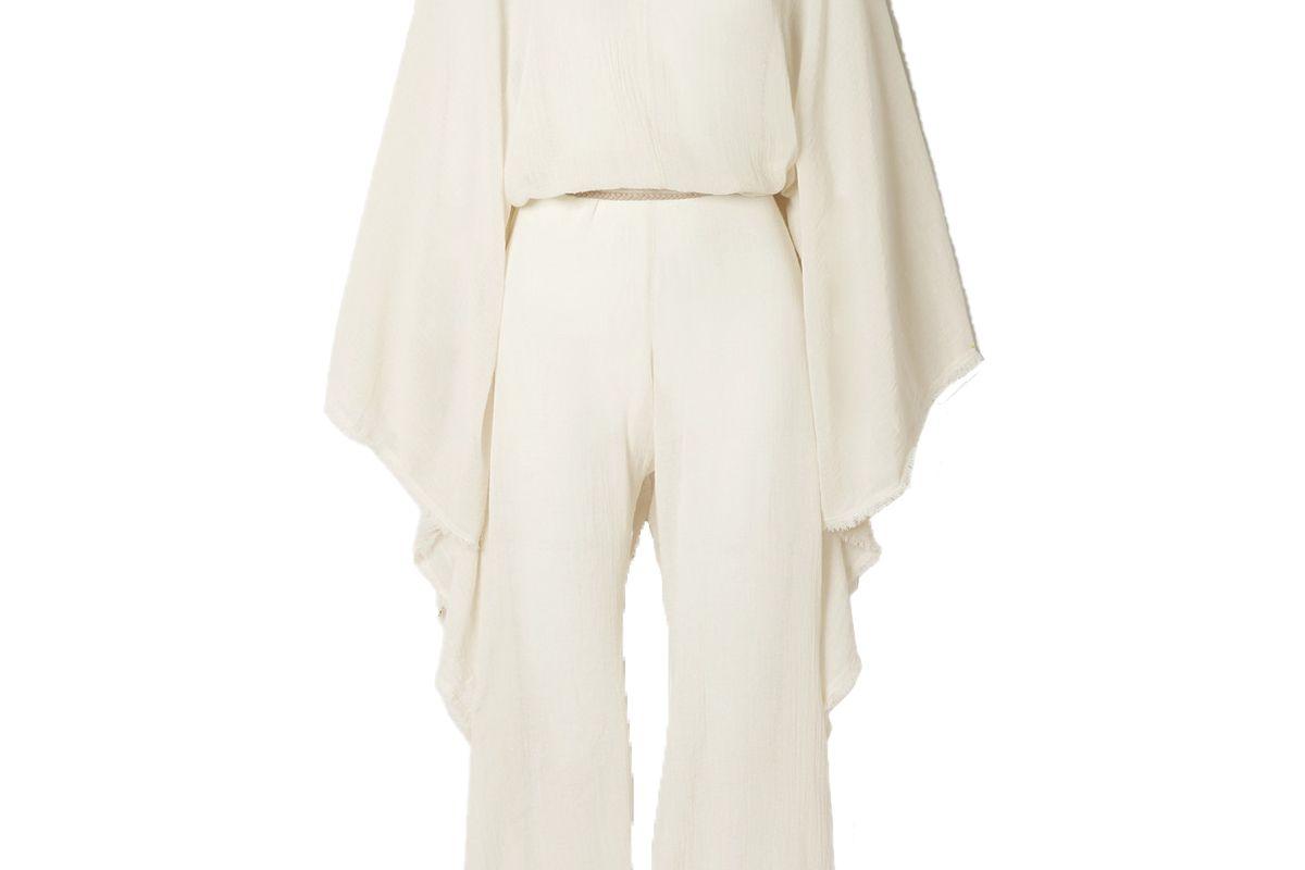 caravana net sustain open-back leather trimmed cotton gauze jumpsuit