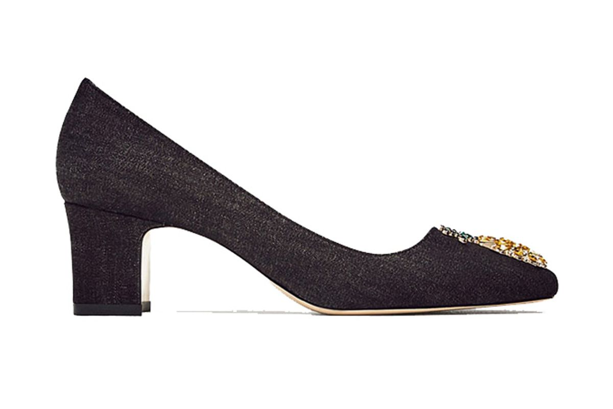 Mid-Heel Denim Shoes with Pineapple Detail