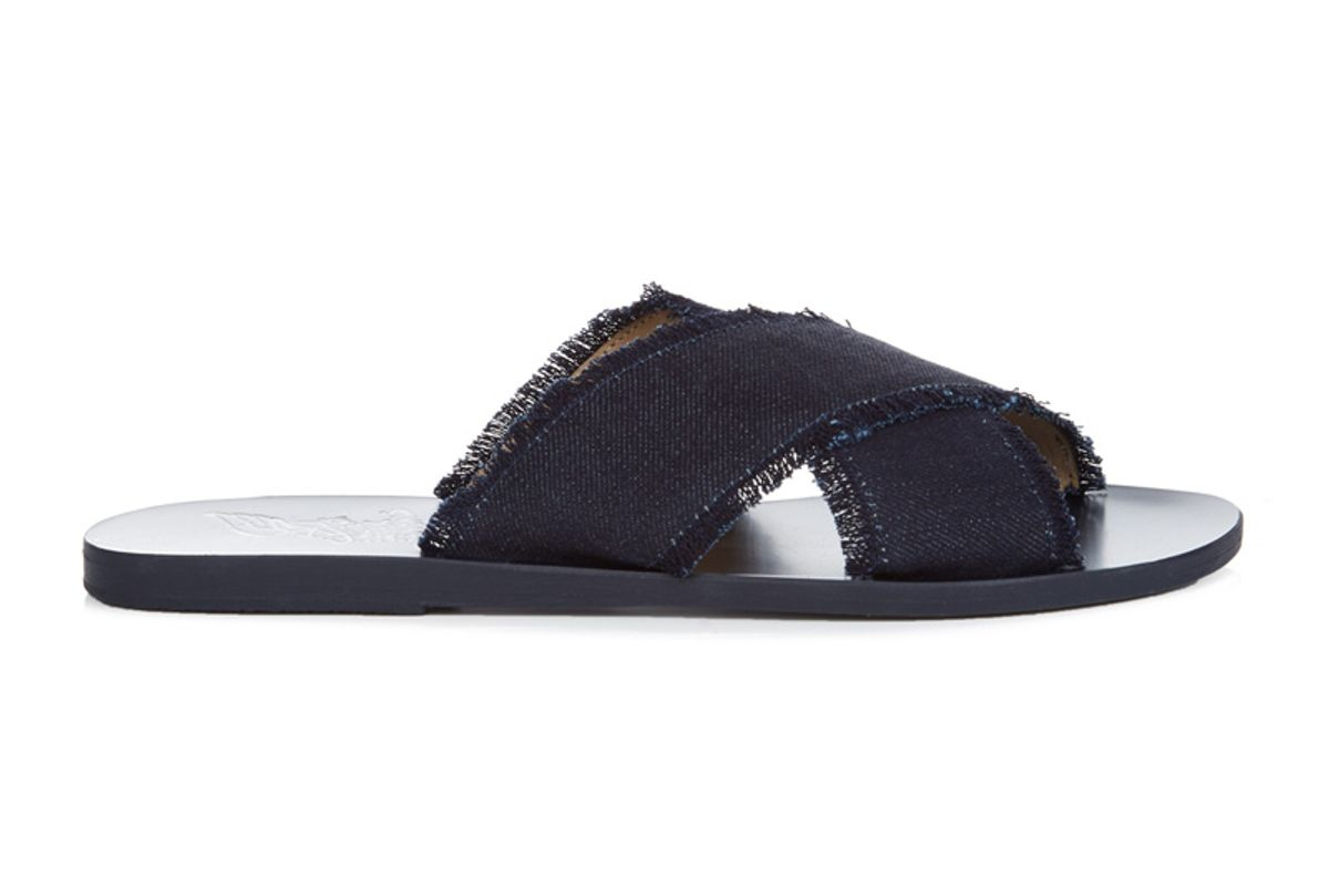 Thais Leather and Denim Sandals