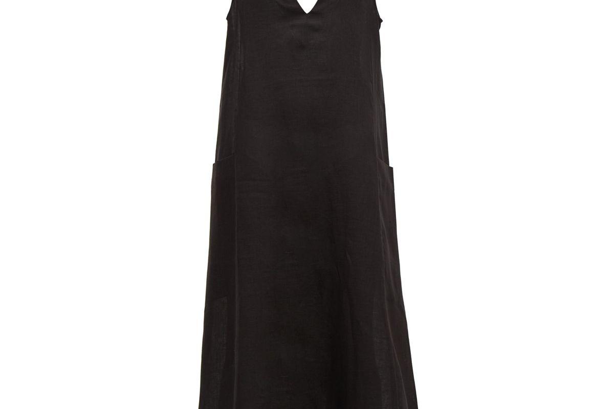asceno seville v neck linen midi dress