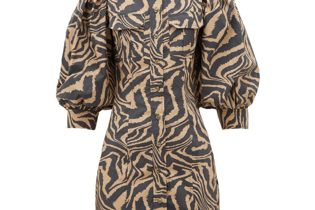 ganni puff sleeve tiger print cotton shirtdress